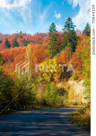 old serpentine road in mountains. beautiful autumn scenery on a sunny day. trees in colorful foliage. countryside journey on a weekend concept 70644109