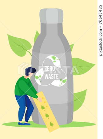 Iron water bottle with recycling logo image. Garbage sorting. Eco friendly. Zero waste concept 70645485