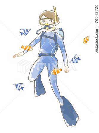 부드러운 터치의 물고기와 다이빙을하는 여성의 일러스트 70645720