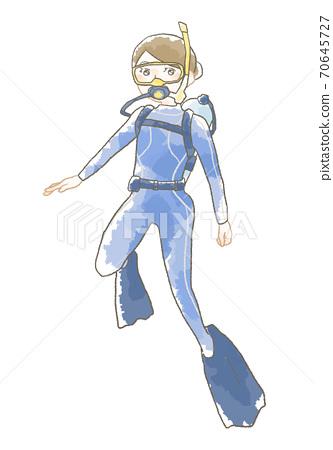 輕柔的潛水女子插圖 70645727