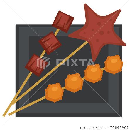 Skewer with meatballs and grilled meat kebab food 70645967