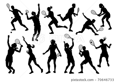 Silhouette Tennis Players Sports People Set 70646733