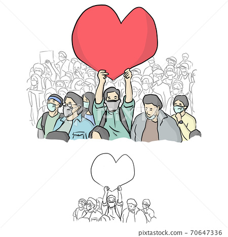 male activist holding big red heart sign over his head vector illustration sketch doodle hand drawn with black lines isolated on white background 70647336