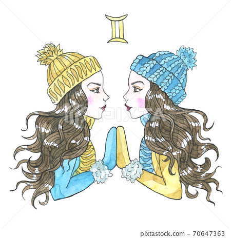 Gemini zodiac symbol. Two beautiful twin girls wearing winter hat, scarf and mittens isolated on white. Hand drawn winter watercolor illustration, esoteric and mystic drawing for horoscope 70647363