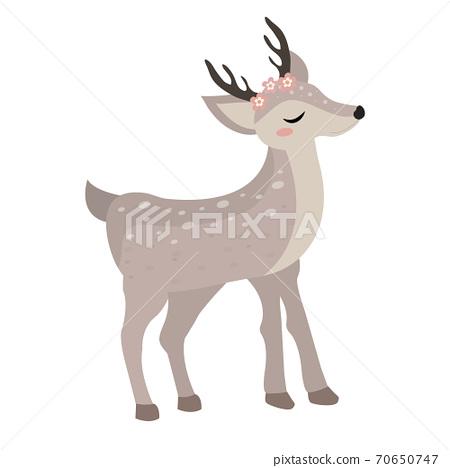 Cute deer icon flat, cartoon style. Vector illustration 70650747