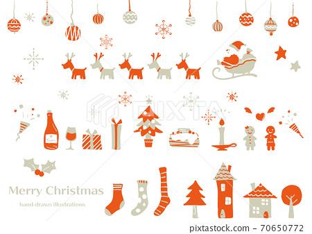 简单和时尚的水彩圣诞节插图设置为红色和灰色 70650772