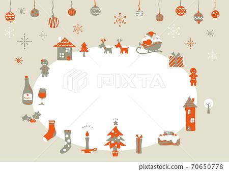 红色和灰色的简约时尚圣诞帧 70650778