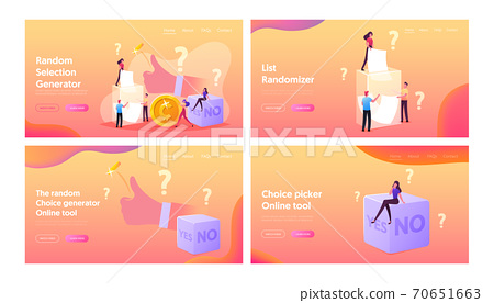 Random Selection Landing Page Template Set. Tiny Characters Throw Coin and Dice with Yes or No Side, Pull Paper from Box 70651663