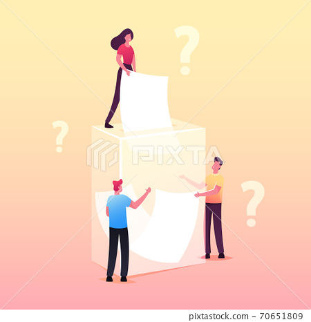Tiny Male and Female Characters Pull Paper Pieces from Huge Glass Vase with Question Marks around. Fortune Telling 70651809