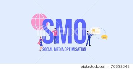SMO Social media optimisation. Global communication media marketing technologies informational. 70652342
