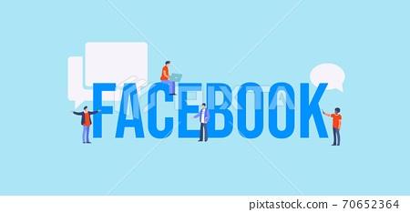 Facebook concept. Global web for communication media marketing technologies informational online. 70652364