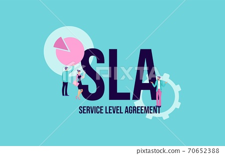 SLA Service level agreement. Promotional communication social media marketing technologies. 70652388