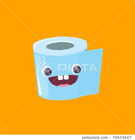 vector funny cartoon toilet paper roll character isolated on orange background. funky smiling kawaii tolet paper roll character 70658607