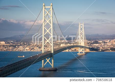 Akashi Kaikyo Bridge Spanning the Seto Inland Sea 70658618