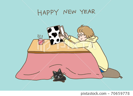 New Year's card Ox year 2021 Kotatsu and cat blue-green 70659778