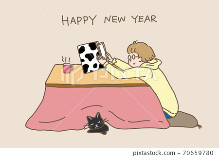 New Year's card Ox year 2021 Kotatsu and cat beige 70659780