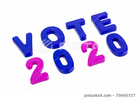 Text VOTE 2020 on a white background. 70660357