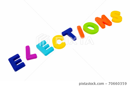 Text ELECTIONS on a white background. 70660359