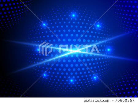 Abstract technology futuristic data particle dynamic blue dots pattern with lighting on dark blue background. 70660567