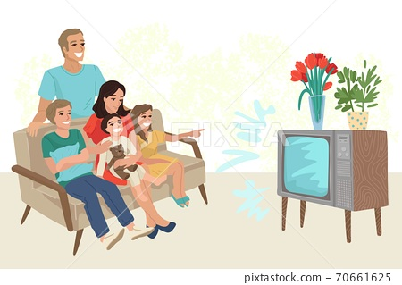 Big family with three children watching retro TV, sitting on the sofa at home. Rest with relatives, day off, watching a movie. Vector illustration 70661625