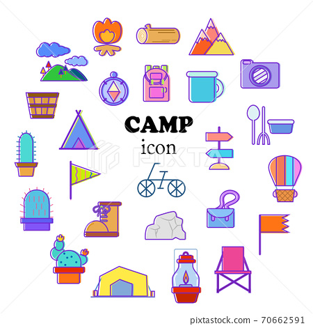 야외 캠핑 일러스트 아이콘 세트 70662591