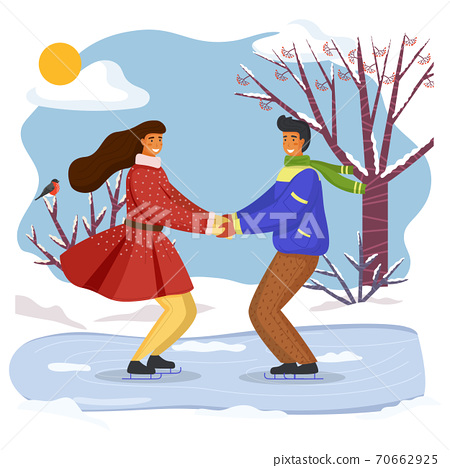 Couple skating together in winter holding hands looking at one another, snow-covered trees 70662925