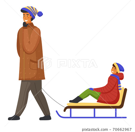 Family wearing warm winter clothes walking, father holding hand by rope and ride son on sledge 70662967