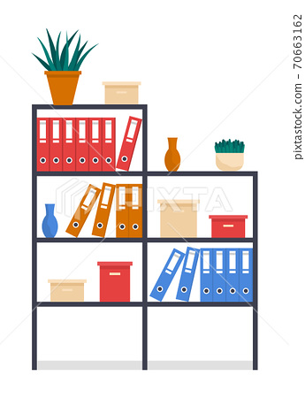 Office rack or stand with folders, boxes with archive files, vases, houseplants in pots, furniture 70663162