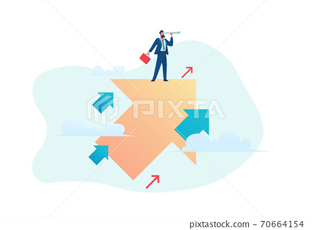Business opportunity concept. Businessman flies up over growing chart. Flat vector illustration 70664154
