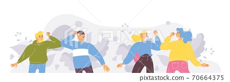 People saying safe hello by elbow bump greeting. Vector concept illustration 70664375