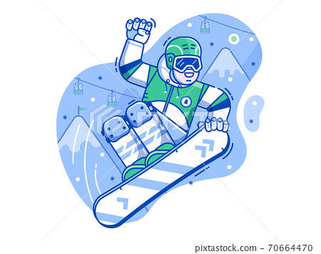 Free Ride Snowboarder Scene in Line Art 70664470