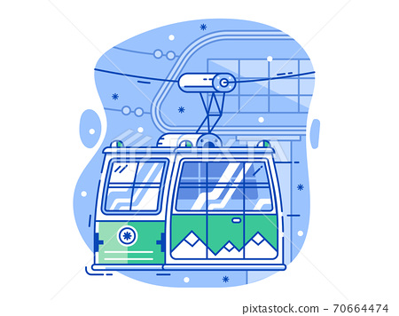 Ski Resort Line Concept with Green Cable Car 70664474