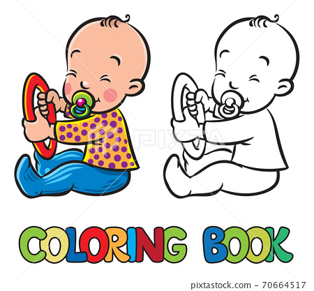 Funny small baby sitting with dummy. Coloring book 70664517
