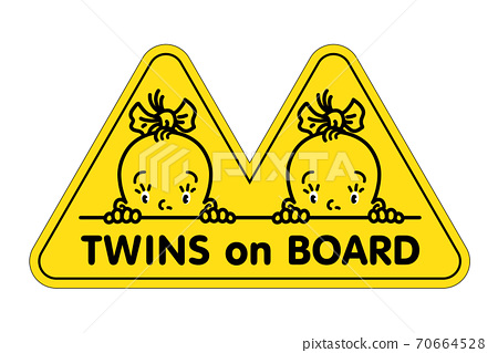 Twins in car sticker. Fases of baby girls and logo 70664528