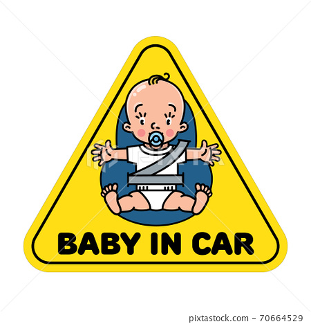 Baby in car seat. Back window sticker or sign 70664529