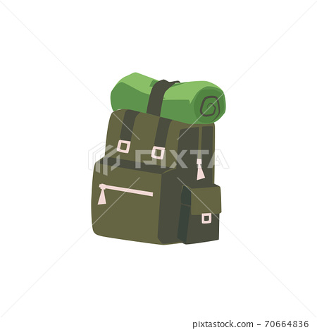 Backpack for family campfire, flat cartoon vector illustration isolated 70664836
