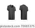 Blank black polo shirt mockup isolated, front back side view 70665375