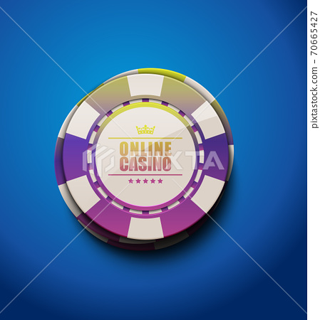 Vector rainbow color glossy casino poker chips, top view. Blue background. Online casino, blackjack  70665427