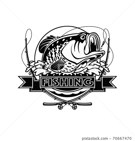 Black and white illustration of Crappie template. Vector illustration can be used for web design, cards, logos and other design. 70667470