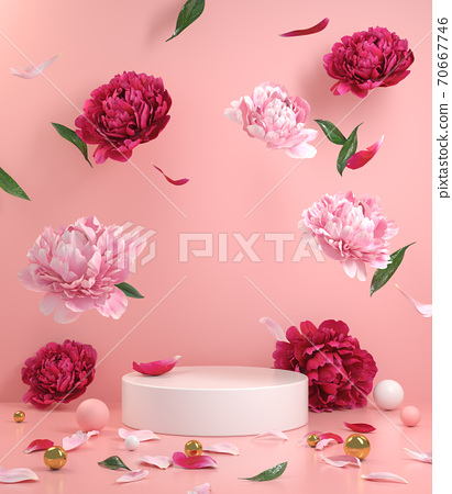 Mockup Empty White Podium With Floral Peonies Flower Pink And Red Falling On The Floor With Pink Pastel Background 3d Render 70667746