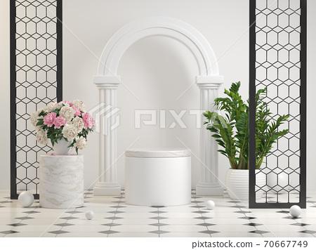 Mockup Clean White Pedestal Elegant Scene Decor With Plant And Flower On Tiles Floor Background 3d Render 70667749