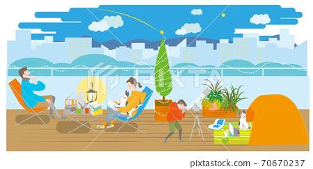 露營在陽台上的男人,女人和男孩 70670237