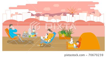 露營在陽台上的男人,女人和男孩 70670239