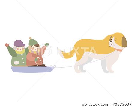 狗拉雪橇的孩子 70675037