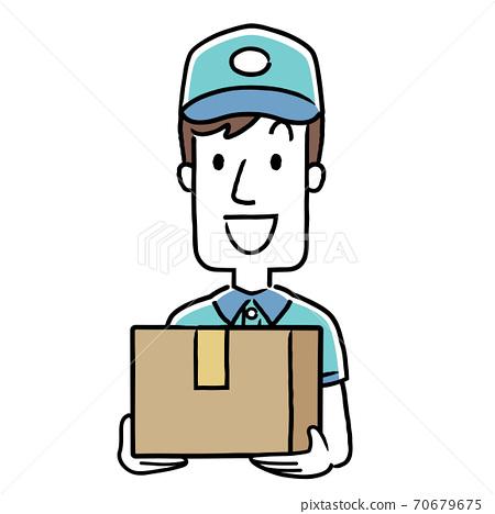 插圖素材:年輕的送貨員 70679675
