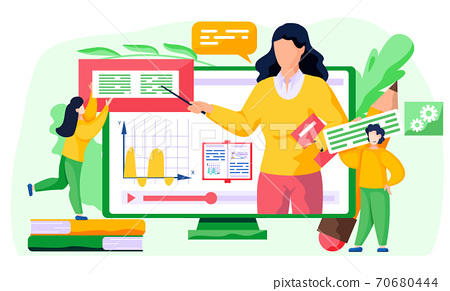 Online math course. Learning mathematics in internet, idea of distance education and knowledge 70680444