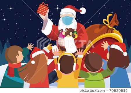 vector of santa claus wearing face mask distributing gifts to children 70680633