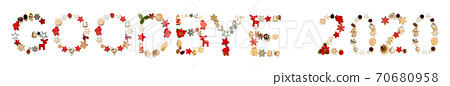 Colorful Christmas Decoration Letter Building Word Goodbye 2020 70680958