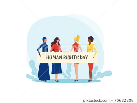 Girls holding banner. Fight for freedom on international human rights day vector illustrator. vector 70682809