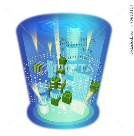 도시가 녹아 든 음료가 담긴 잔의 일러스트 70683117